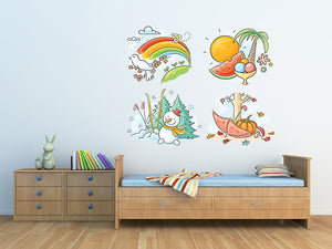 Skiing Winter Snowman Wall Decal
