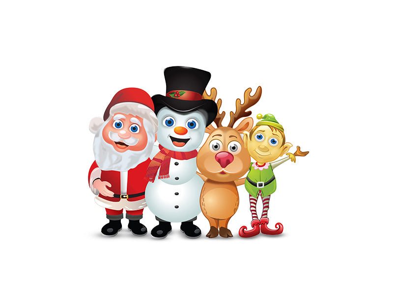 3D Santa Group Wall Decal