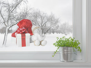 Snowman And Gift Box White Wall Decal