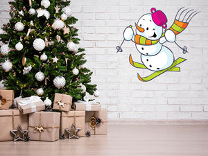 Cheerful Skis Snowman Wall Decal