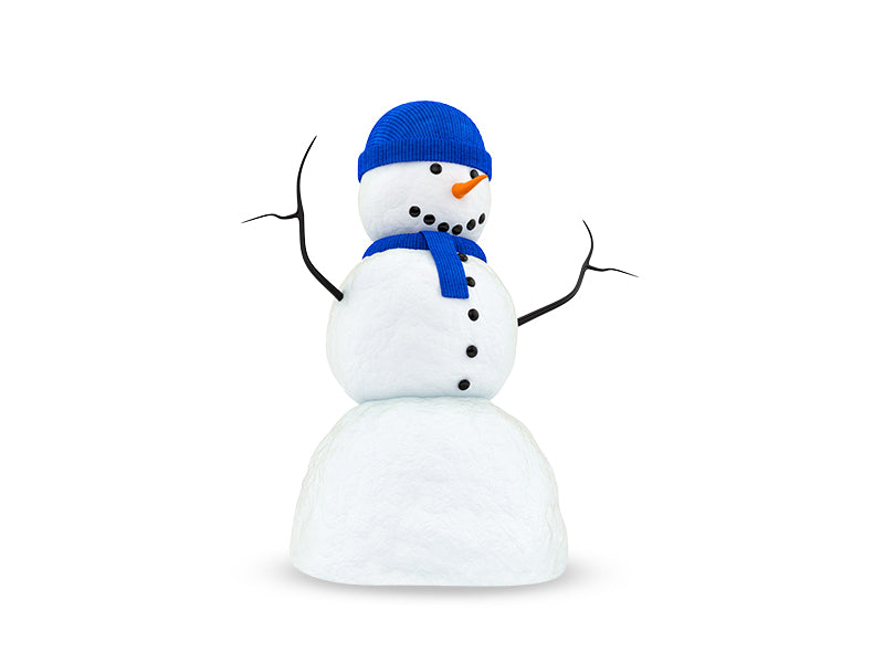 Render Snowman With Blue Wall Decal
