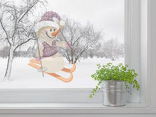 Load image into Gallery viewer, Sweet Skiing Snowman Wall Decal
