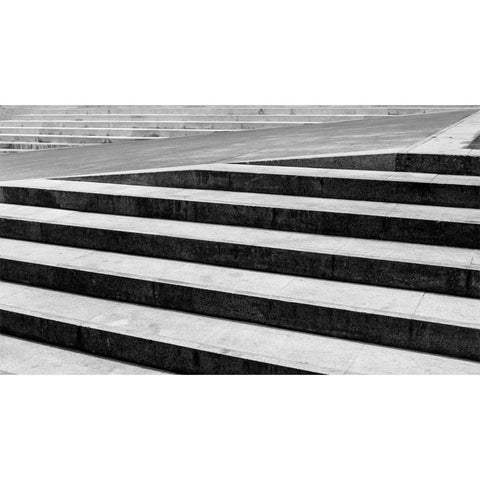 Abstract Stairs in Black and White Wall Mural