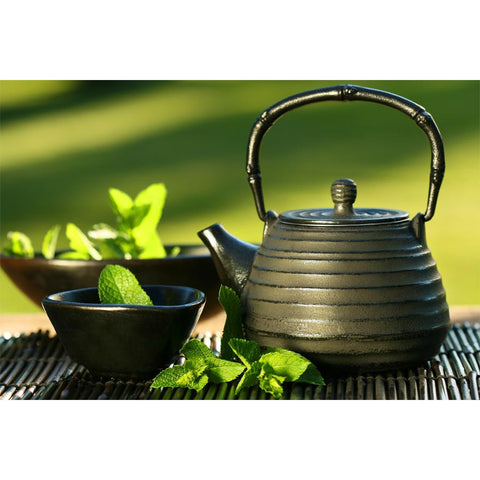 Asian Teapot And Mint Tea Wall Mural