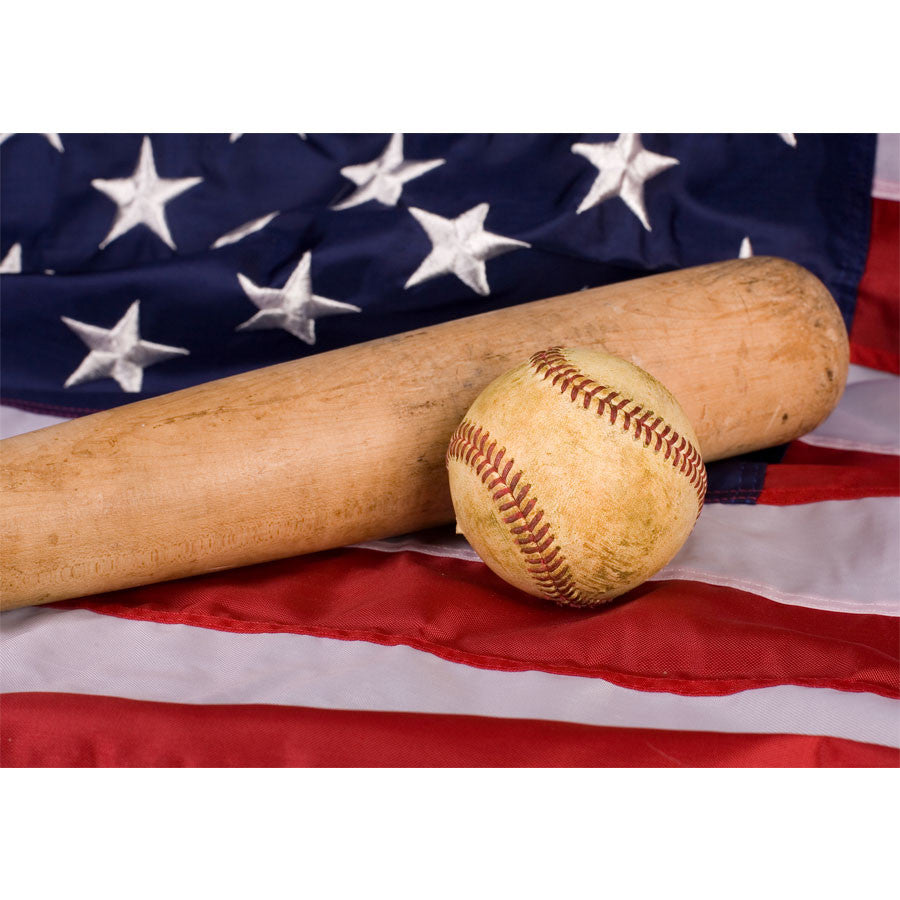 Old Baseball And Bat With American Flag Wall Mural