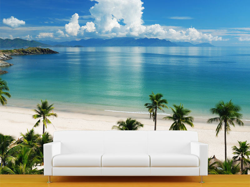 Beach scene wall mural majestic wall art for Beach mural wallpaper