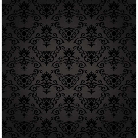 Black Floral Pattern Wall Mural