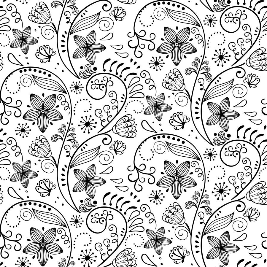 Black And White Floral Pattern Wall Mural Part 72