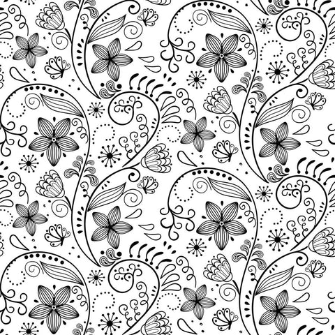 Black and White Floral Pattern Wall Mural