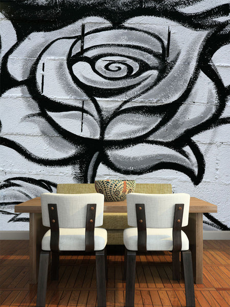 Black and white graffiti rose wall mural majestic wall art for Black and white rose wall mural