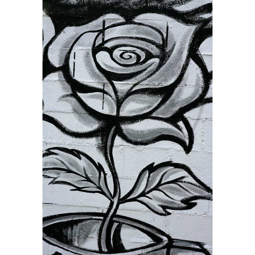 Black and White Graffiti Rose Wall Mural