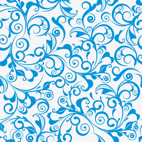 Blue Damask Pattern Wall Mural