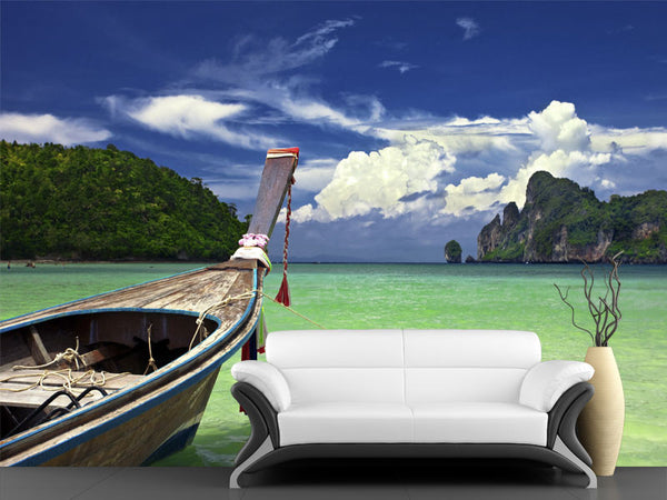 Boat in Tropical Sea Wall Mural