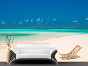 Canvas Chair on a Tropical Beach Wall Mural
