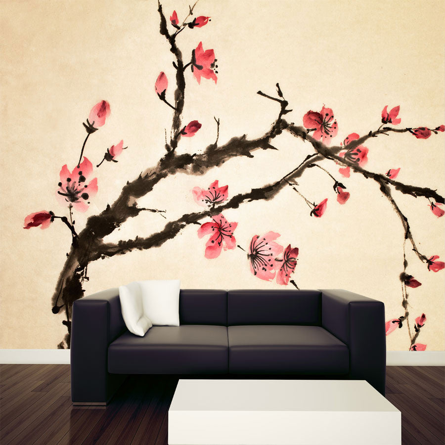 Chinese flower wall mural majestic wall art for Chinese wall mural