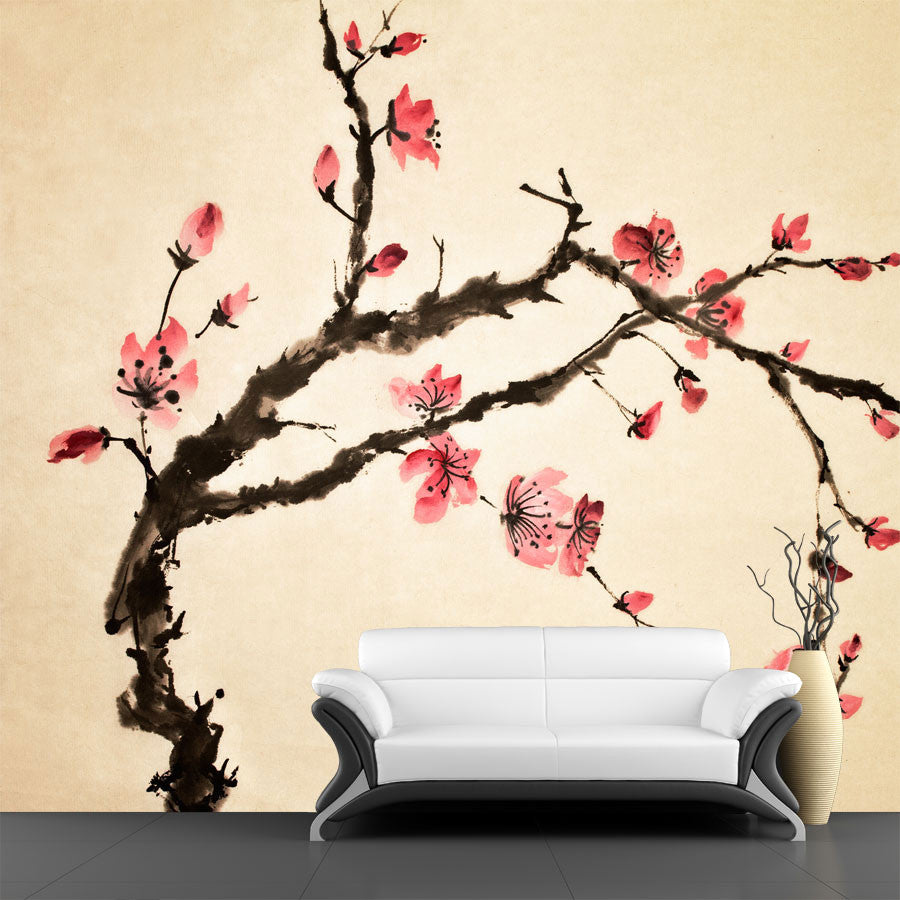 Chinese flower wall mural majestic wall art for Chinese wallpaper mural