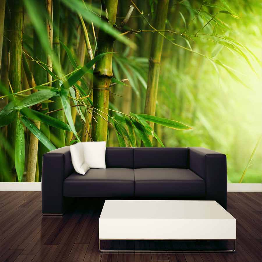 Closeup of bamboo forest wall mural majestic wall art for Bamboo wall mural wallpaper
