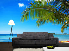 Load image into Gallery viewer, Coconut Palms against Blue Sky Wall Mural