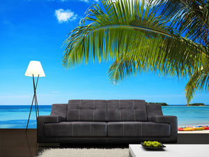 Coconut Palms against Blue Sky Wall Mural