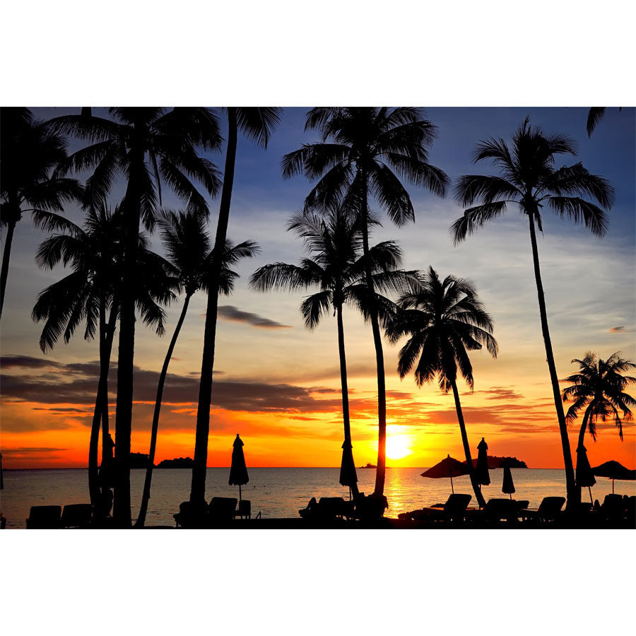 Coconut Palms on Sandy Beach in Tropical Sunset Wall Mural