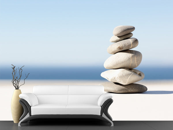 Stacked Zen Pebble Wall Mural