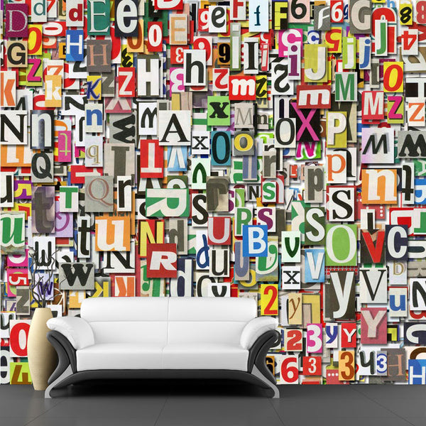 Digital Letter Collage Wall Mural