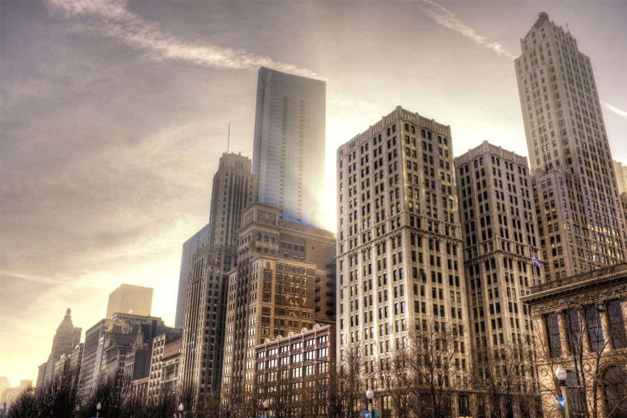 Down-town Chicago in HDR Wall Mural