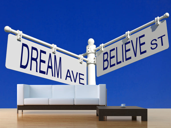 Dream ave & Believe St Wall Mural