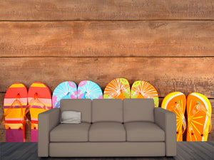 Brightly Colored Flip-flops on Wood Wall Mural