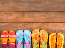 Load image into Gallery viewer, Brightly Colored Flip-flops on Wood Wall Mural