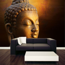 Load image into Gallery viewer, Golden Sculpture of Buddha's Head Wall Mural