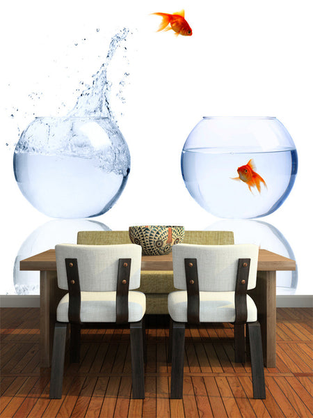 Goldfish Leaping Out of the Water Wall Mural