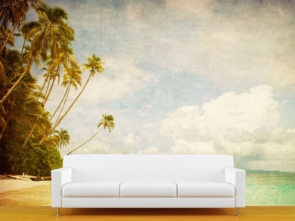Grunge Image of Tropical Beach Wall Mural