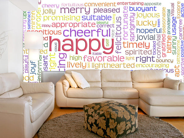 Happy Cheerful Word Cloud Wall Mural