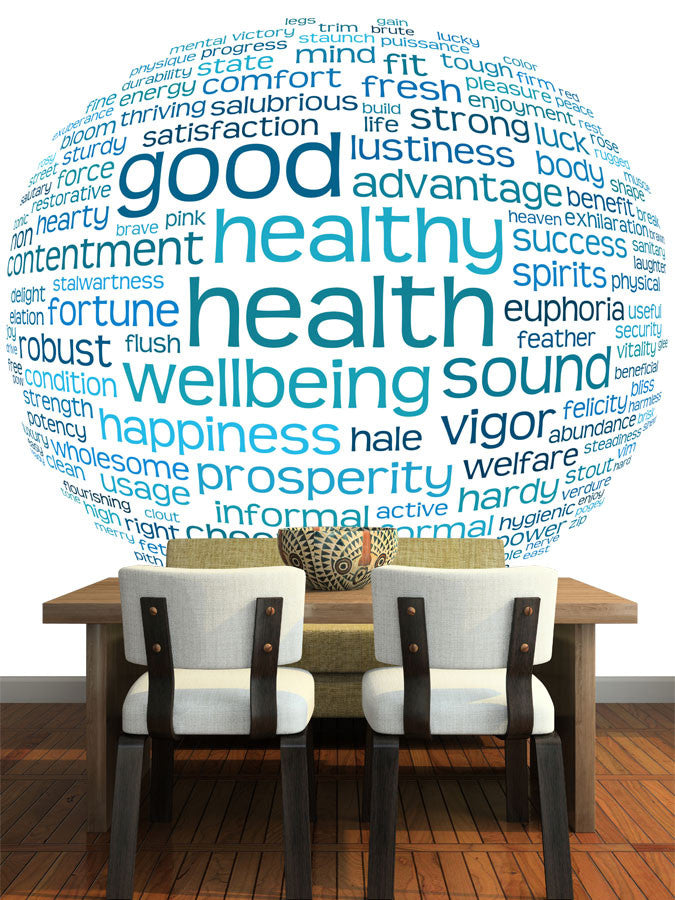 Health And Well Being Word Cloud Wall Mural Majestic