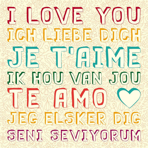 I love You in Seven Languages Wall Mural
