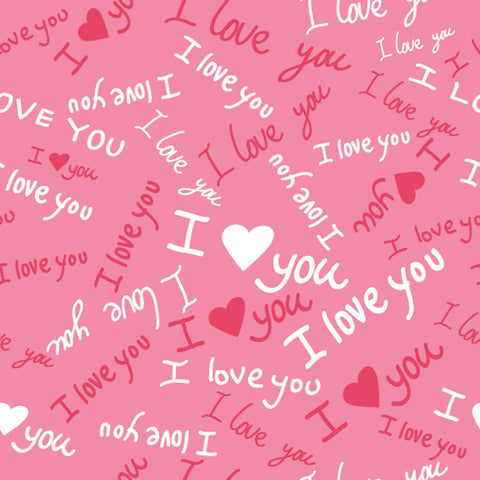 I Love You Pattern Wall Mural
