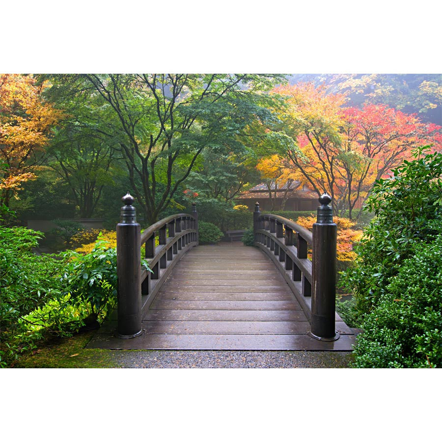 Japanese Garden in Fall Wall Mural