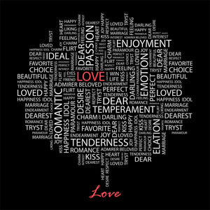 Love with Word Cloud Wall Mural