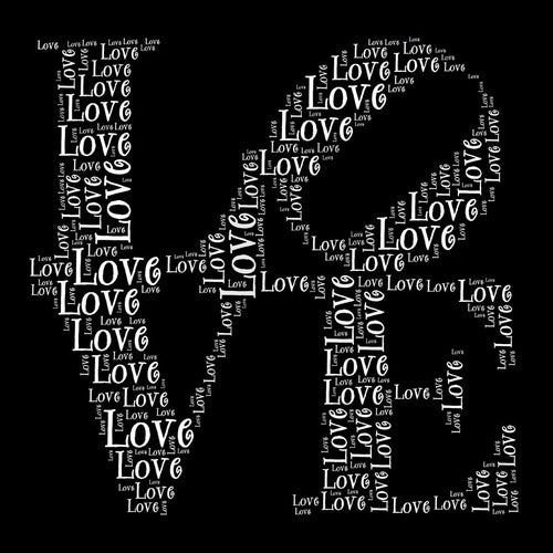 Love in Words Pattern Wall Mural