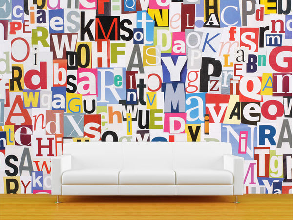 Magazine Letters Collage Wall Mural