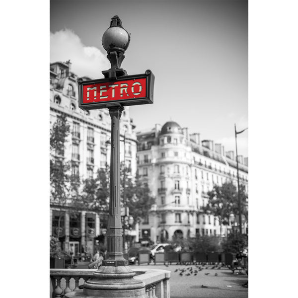 Metro Sign Paris France Wall Mural