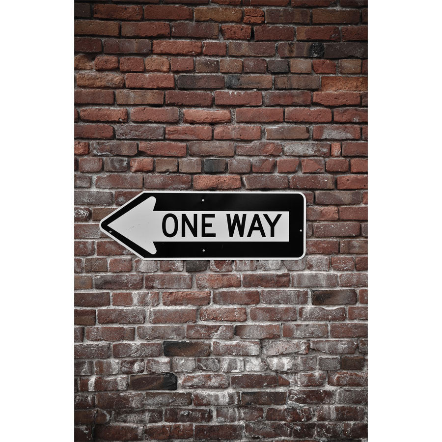 Brick Wall with One Way Sign Wall Mural