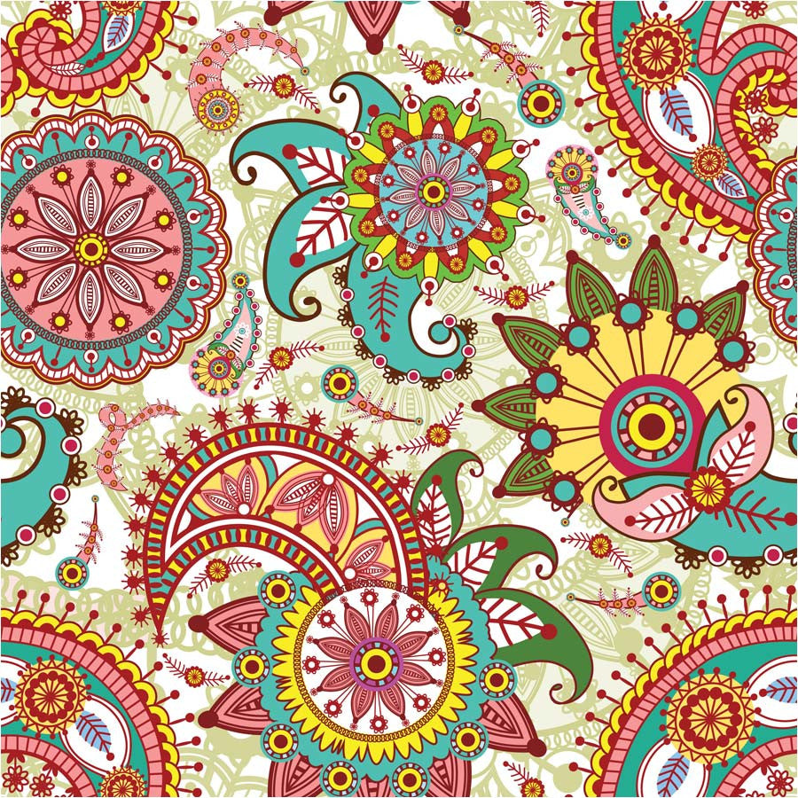 Paisley and Flower Pattern Wall Mural