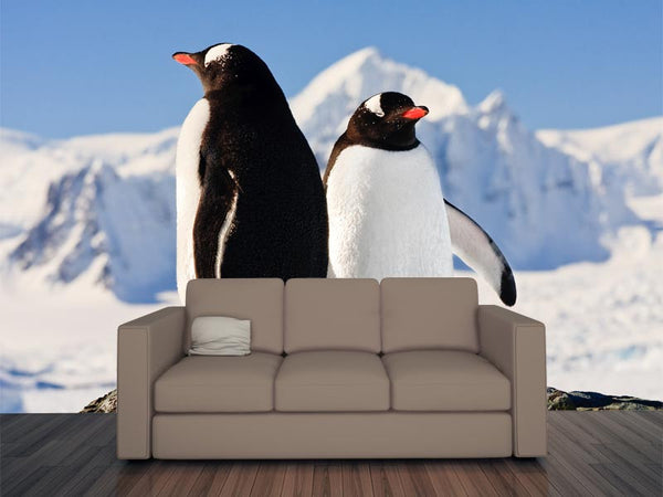 Two Penguins Dreaming Wall Mural