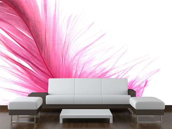 Pink Feather Wall Mural
