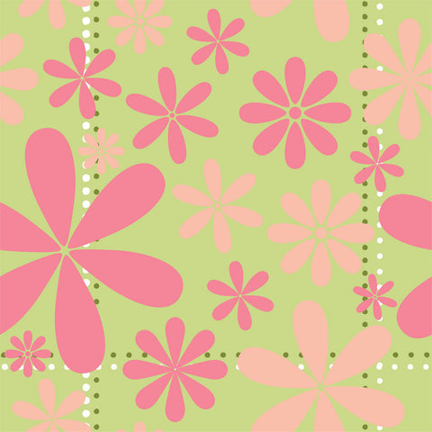 Pink Retro Floral Wall Mural