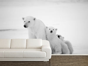 Polar Bear with Cubs Wall Mural