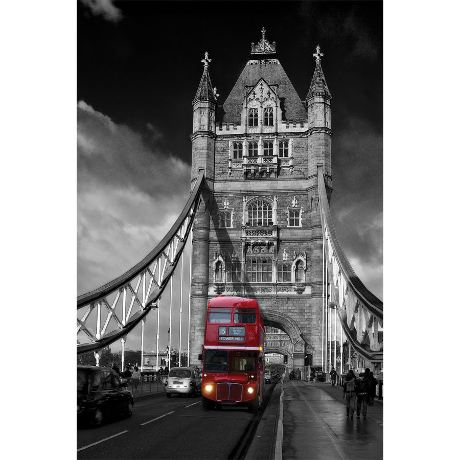 Red London bus on Tower Bridge Wall Mural