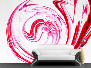 Red Paint Spiral Wall Mural